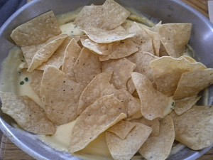 Nachos - Cheese Sauce on the Bottom - Salsa and Guacamole can go on top