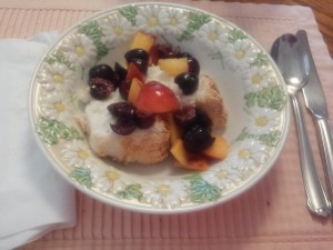 Angel Food Cake with Peaches and Cherries