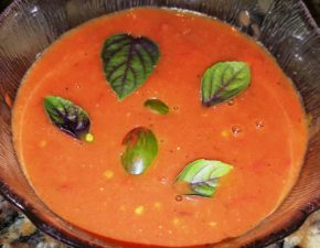 Tomato Basil Soup garnished with Purple Basil and Lucky Tiger  Tomatoes